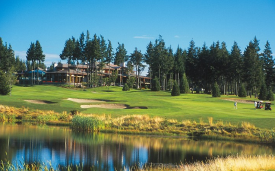 A view of the Crown Isle Club House from the golf course in Courtenay on Vancouver Island