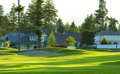 Homes along the fairway at Crown Isle resort and golf community in Courtenay on Vancouver Island