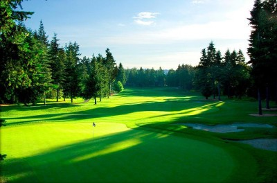 Sunset over the Crown Isle championship golf course in Courtenay on Vancouver Island